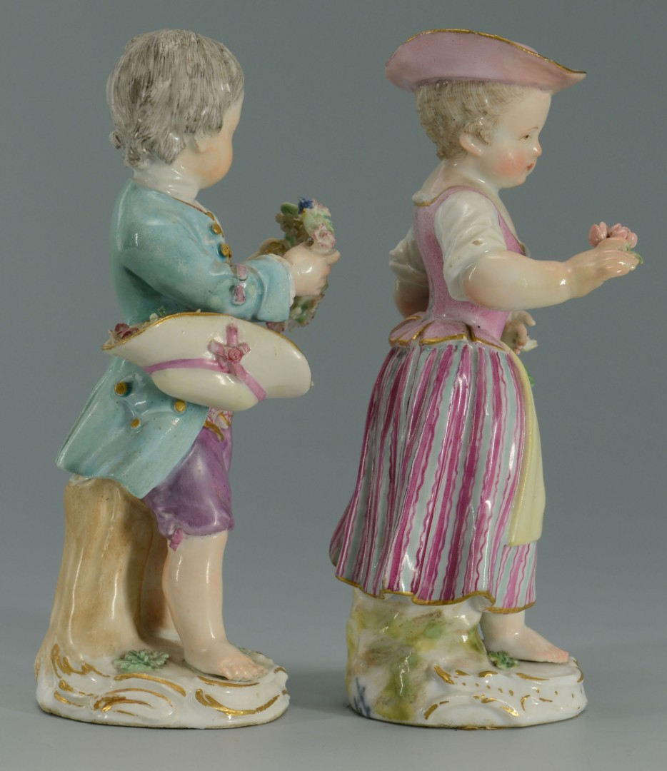2 Meissen Porcelain Figures, Girl & Boy
