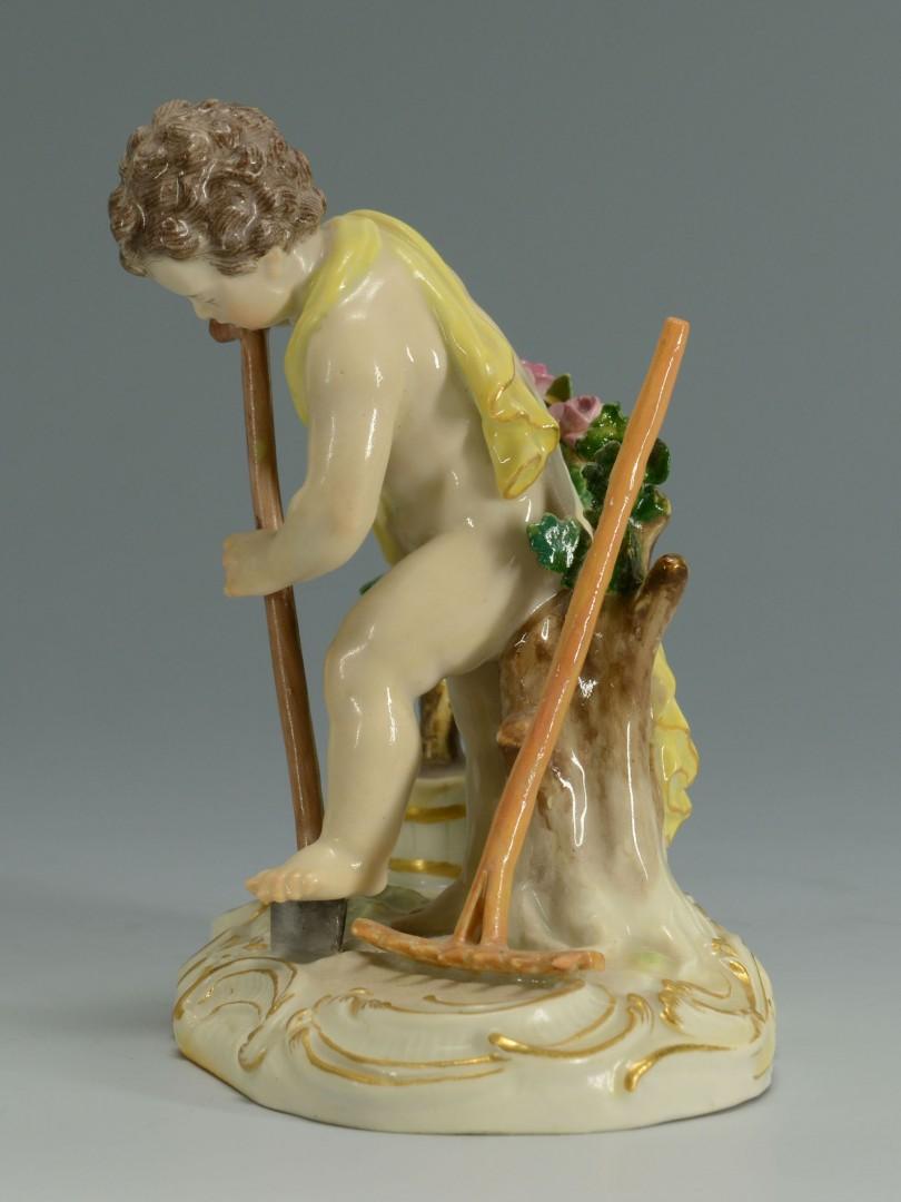 Lot 133: Meissen Porcelain Figure, cherub gardener
