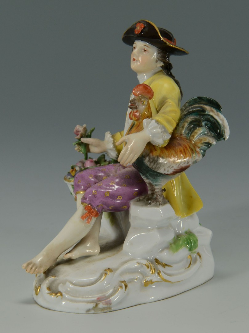 Meissen Porcelain Figure of Man w/ Rooster