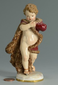 Lot 137: Meissen Porcelain Figure of Cherub in Robe