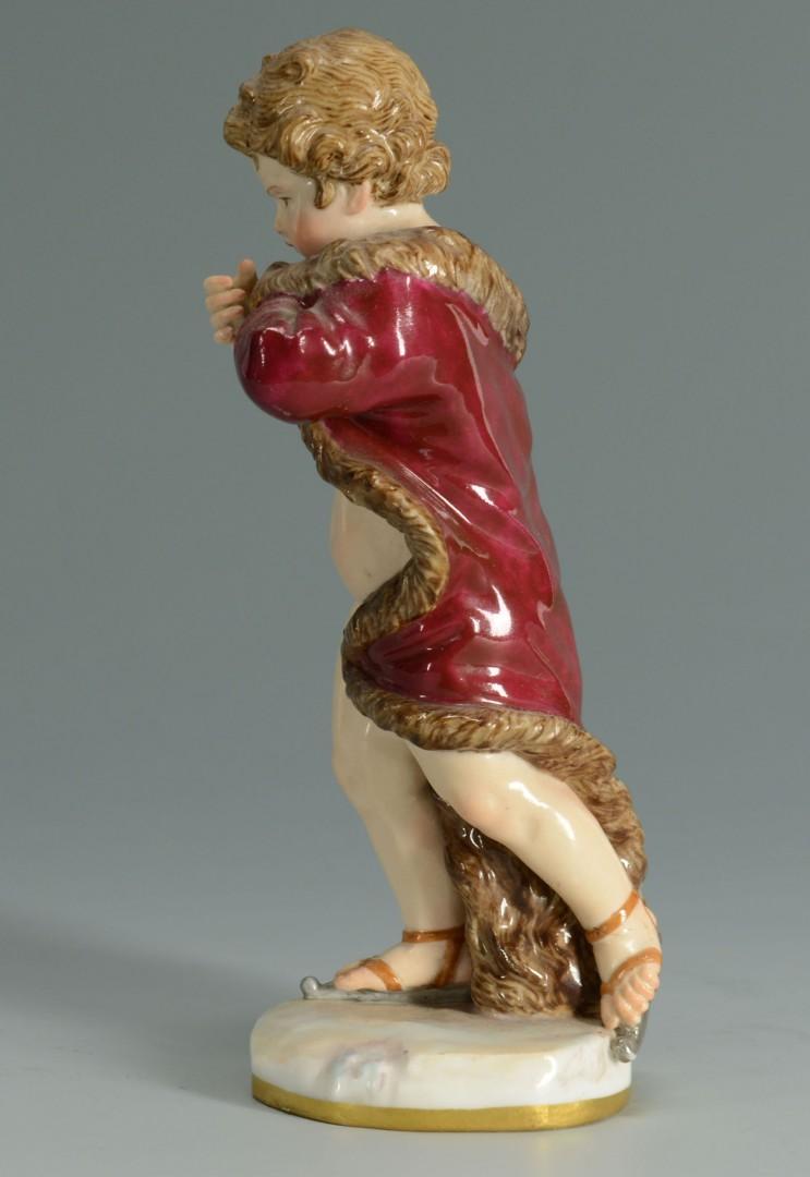 Lot 137: Meissen Porcelain Figure of Cherub in Robe