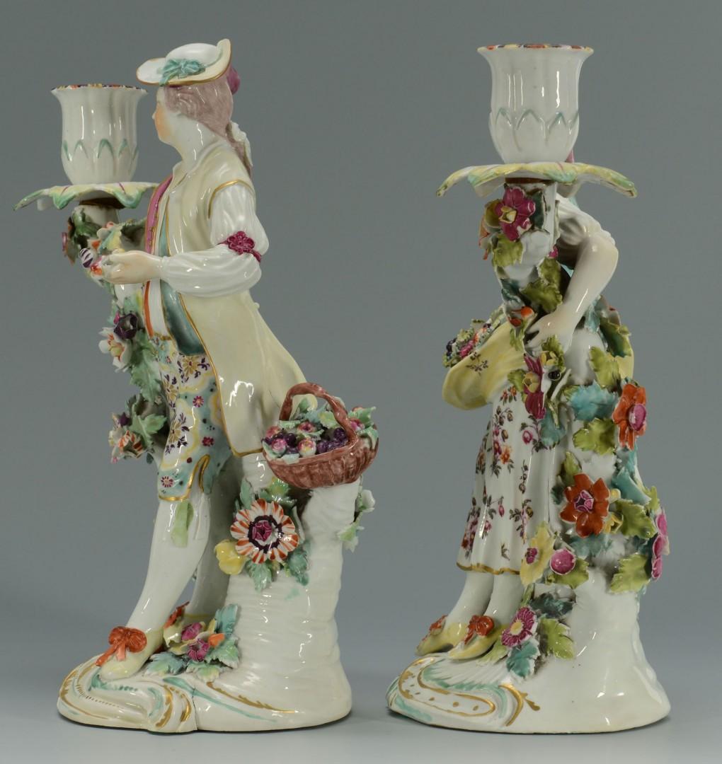 Lot 138: Pair of Derby Porcelain Figural Candleholders