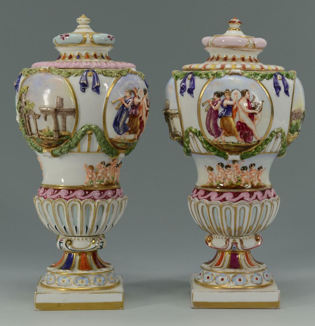 Pair of Covered Capo di Monte Porcelain Urns