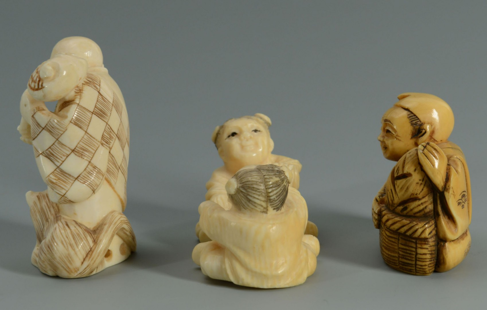8 Asian Ivory and Soapstone Items