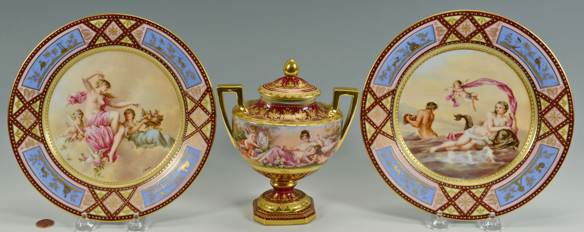 Royal Vienna Classical Nudes Urn & Plates, 3