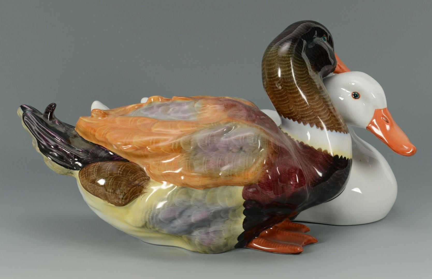 Large Herend Porcelain Ducks sculpture
