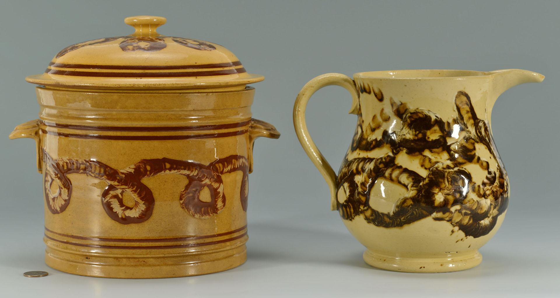 Lot 144: Yellowware Mocha Earthworm jar and pitcher