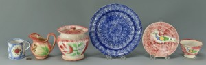 Lot 145: Grouping of decorated spatterware, 6 items