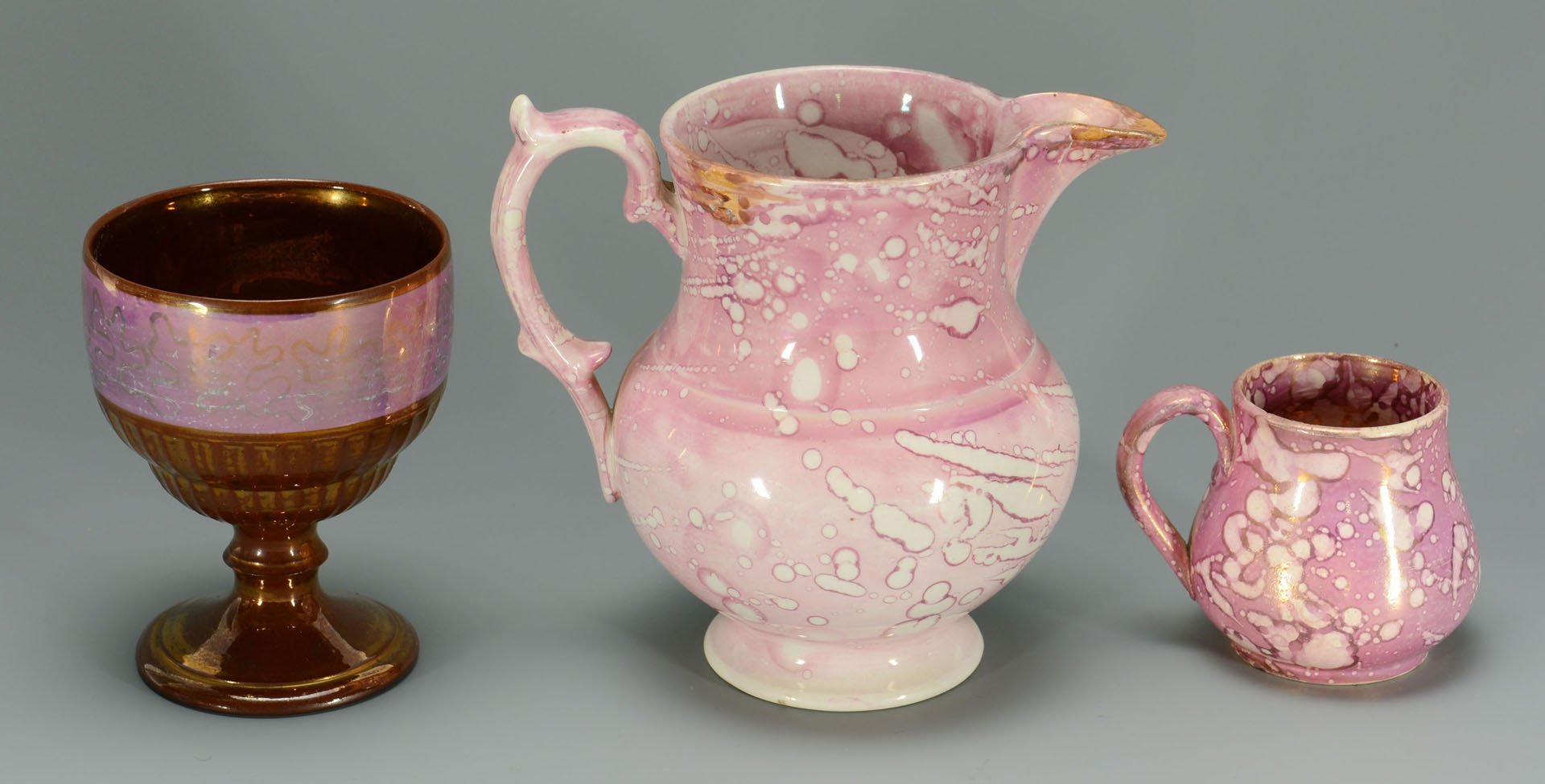 Lot 146: Grouping of Pink Lusterware, total 9 items