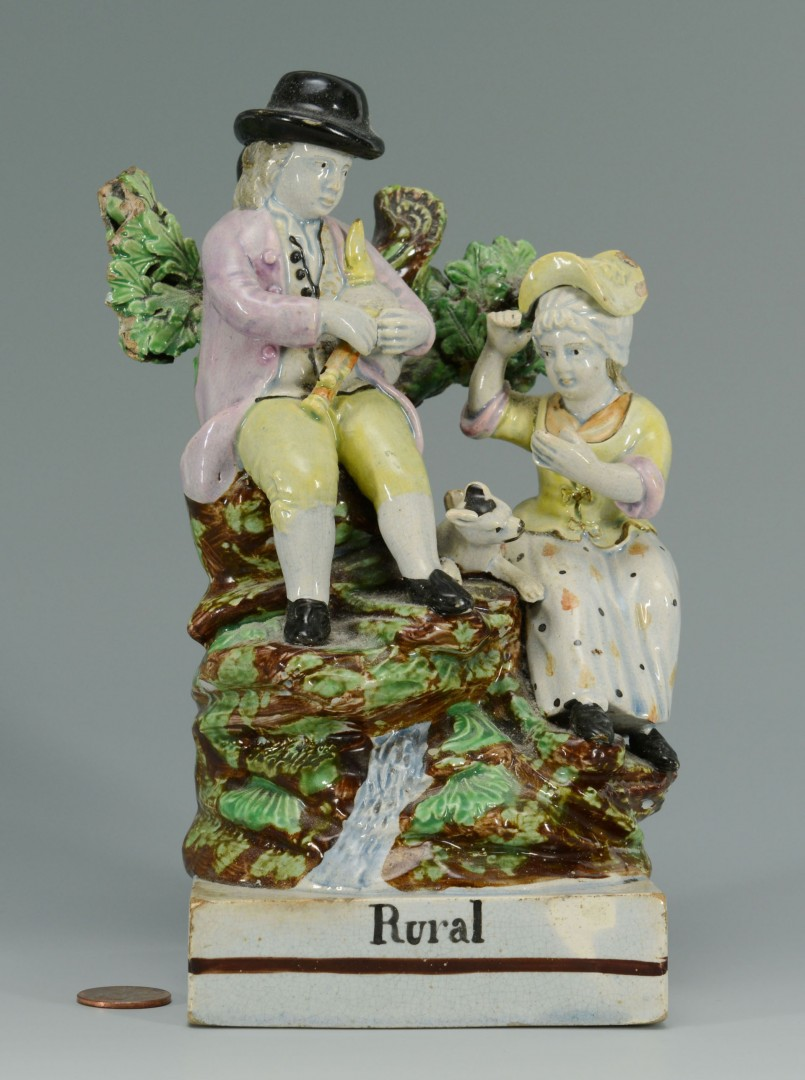 "Lot 148: Early Pearlware Staffordshire ""Rural"" Figural scen"