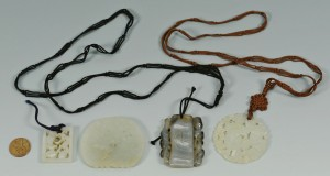 Lot 14: Three Chinese Jade Plaque Pendants plus other
