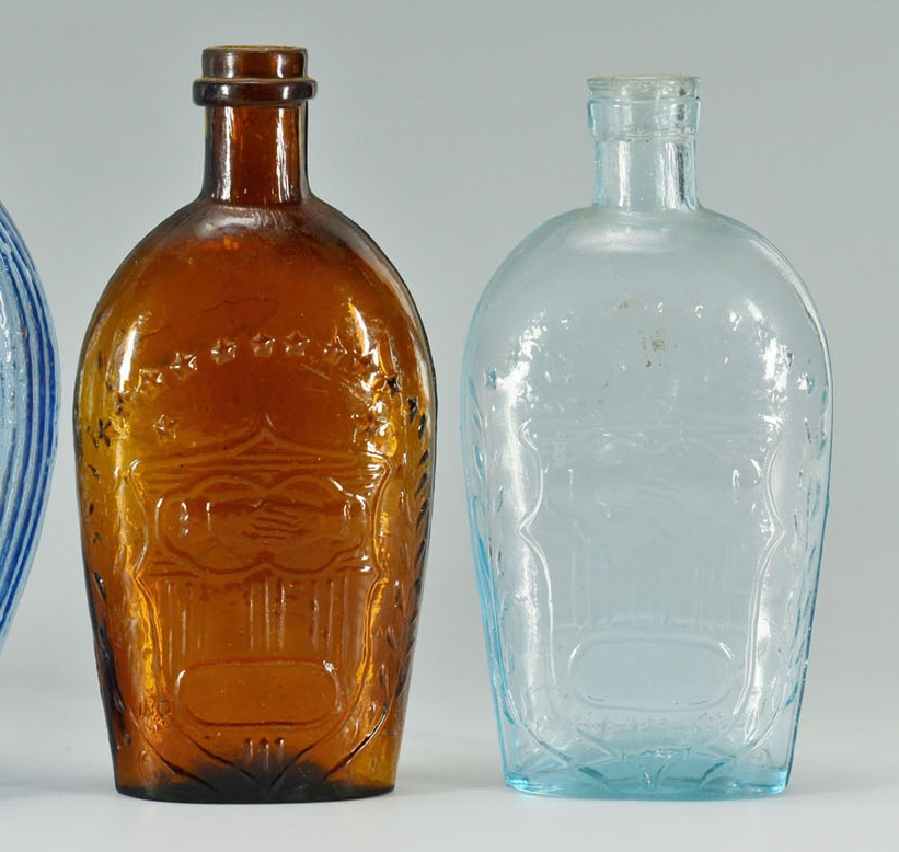 4 Blown Mold Eagle Flasks, Varying Color