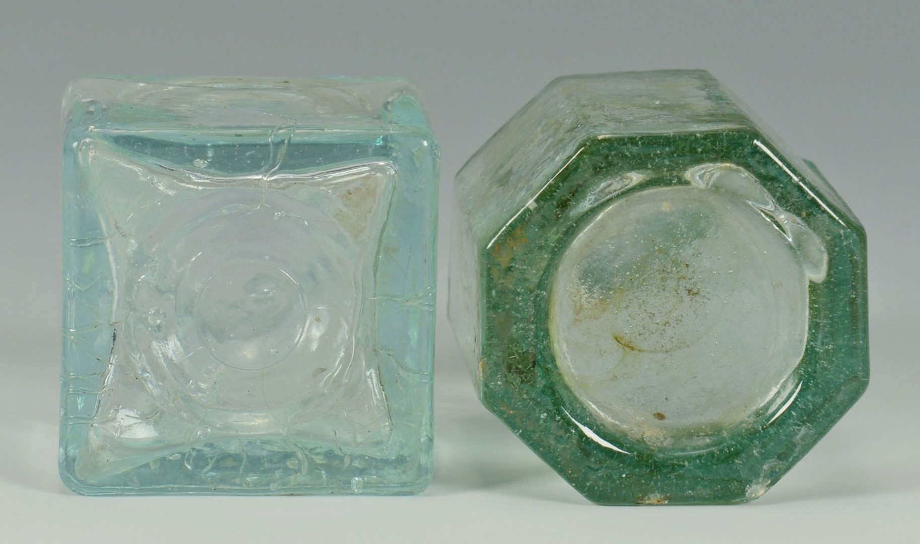 Lot 154: Pair Coventry Glass Inkwells & 2 Colorless Inkwell