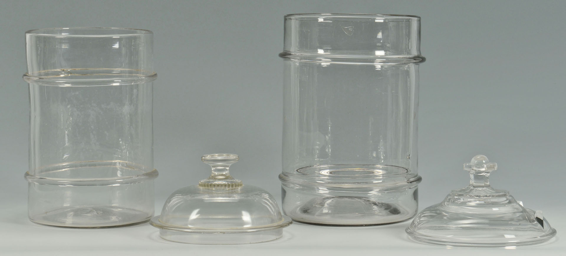 Lot 155: 5 Blown Colorless Glass Canister Jars, 2 bands