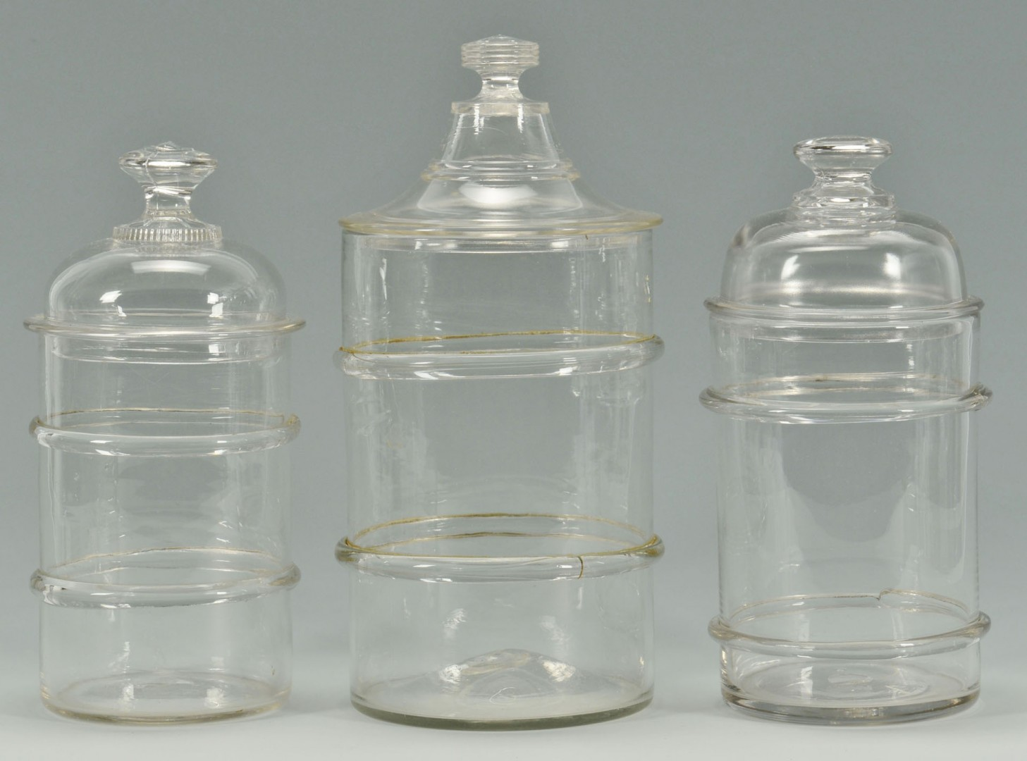 5 Blown Colorless Glass Canister Jars, 2 bands