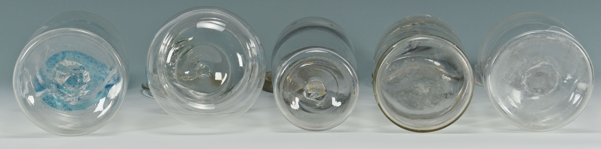 9 Early Glass Canister Jars with tin and glass lids