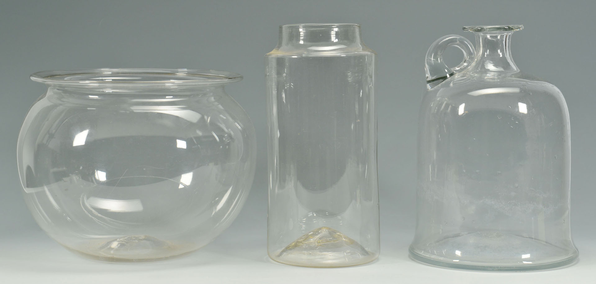 7 Early Blown Items inc. Canisters, Fish Bowl, Jug