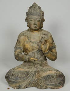 Lot 15: Large carved and gilt wood Buddha statue