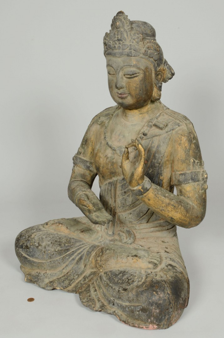 Large carved and gilt wood Buddha statue