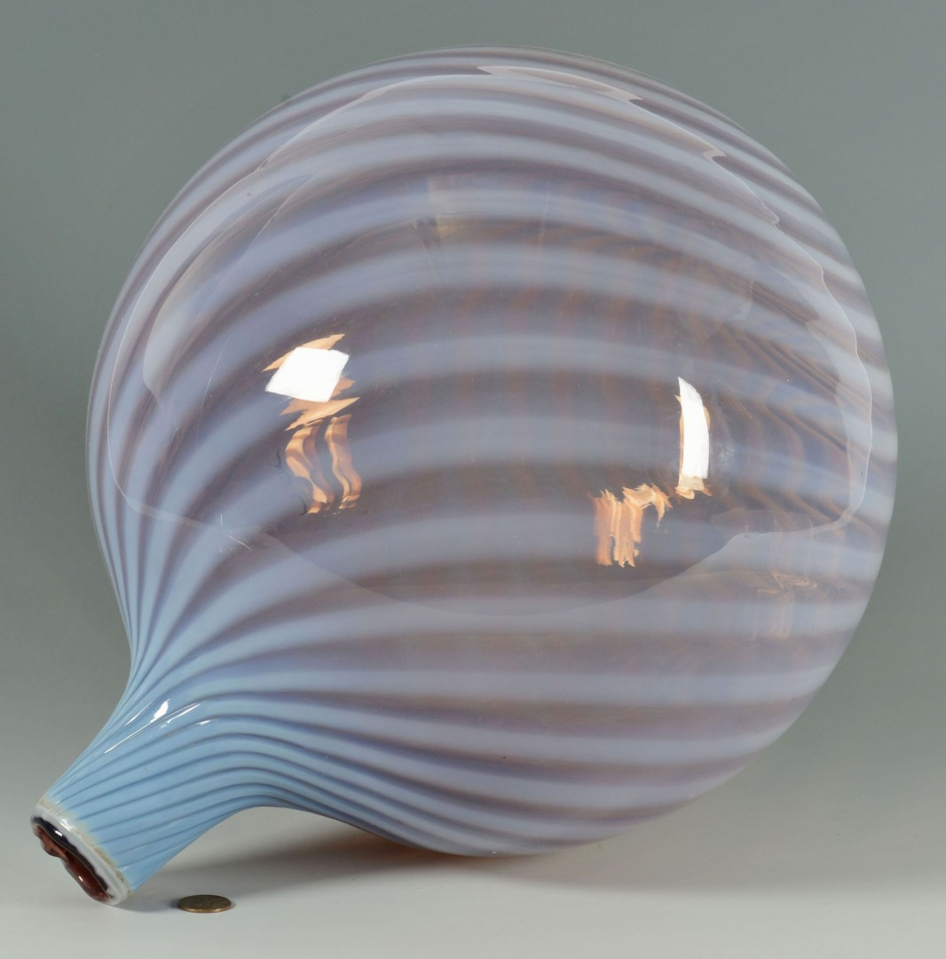 Lot 160: Large Art Glass Witch Swirl Ball with Stem