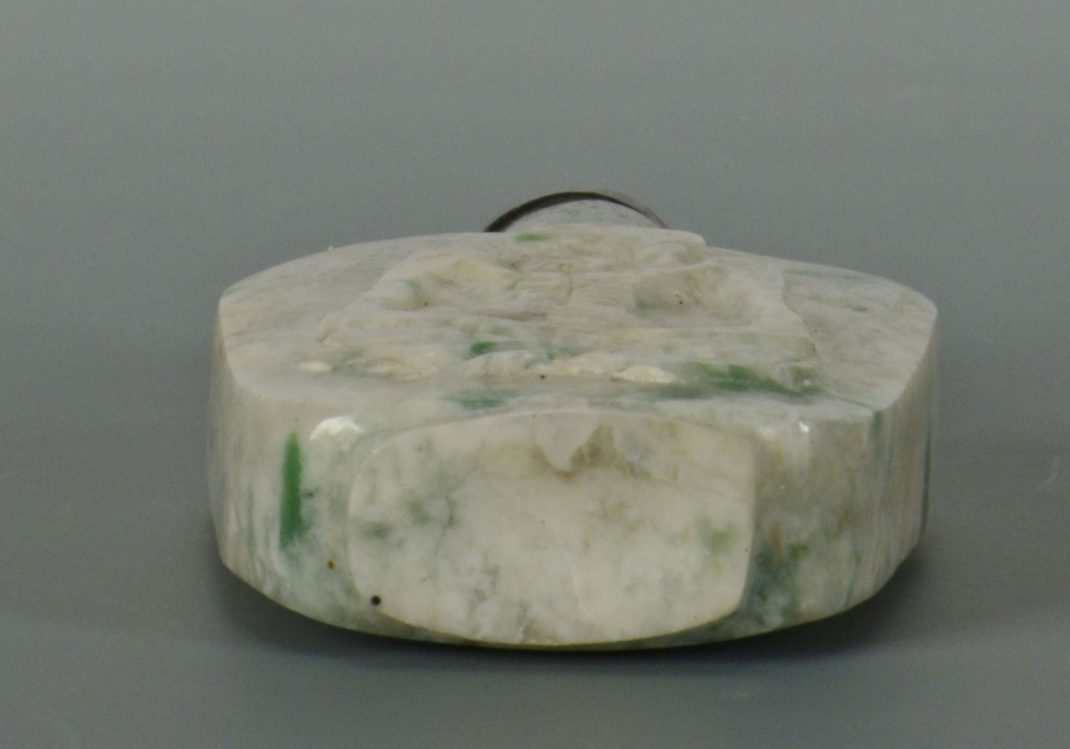 Lot 16: Chinese Carved Green and White Jade snuff bottle
