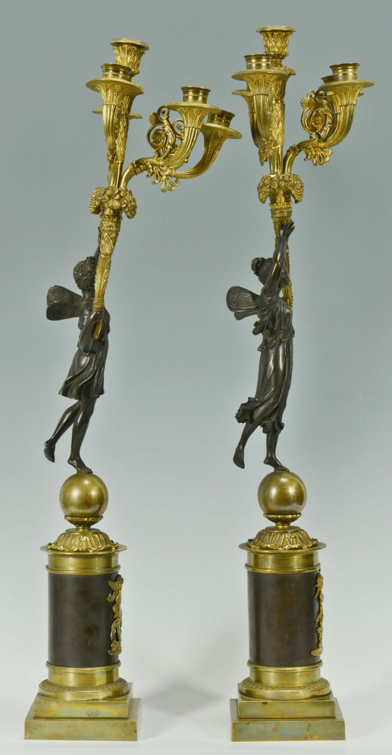 Lot 170: Pair 19th C. French Empire Style Candelabra