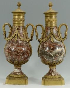 Lot 171: Pair Louis XVI style Marble and Ormolu Vases