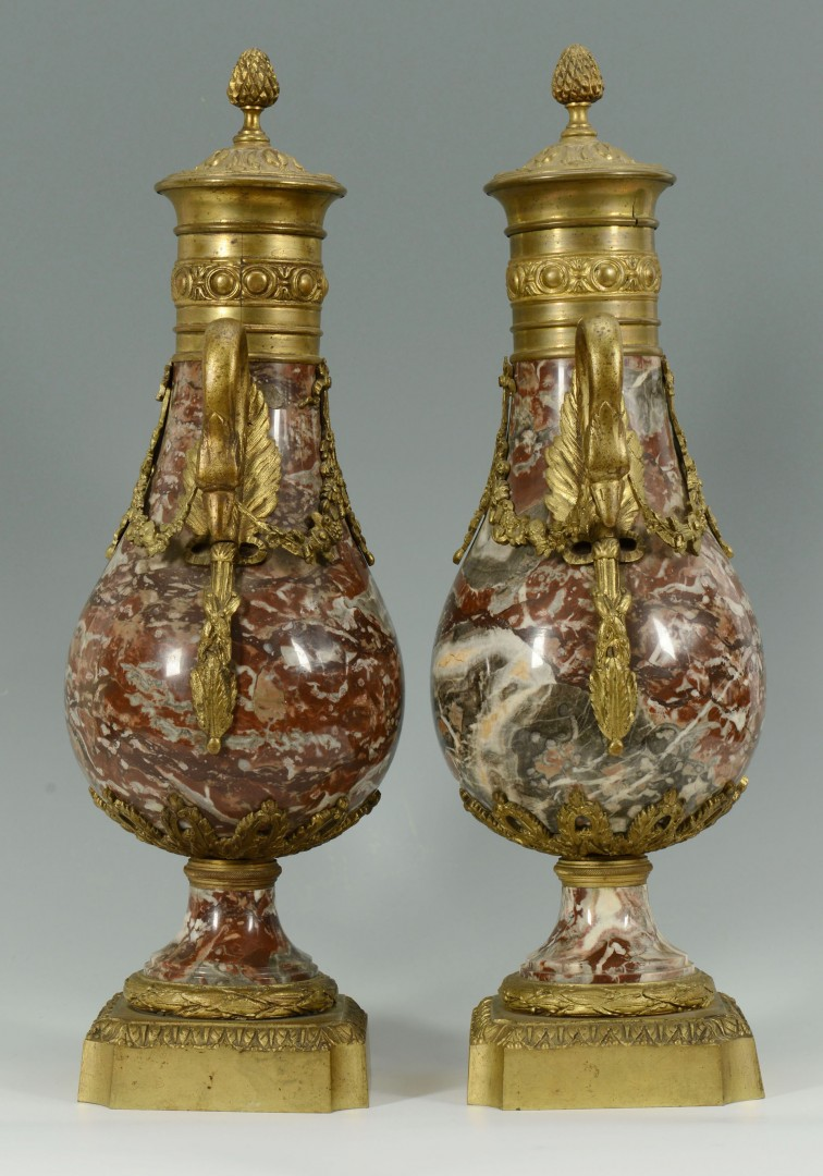 Lot 171: Pair Louis XVI style Marble and Ormolu Vases