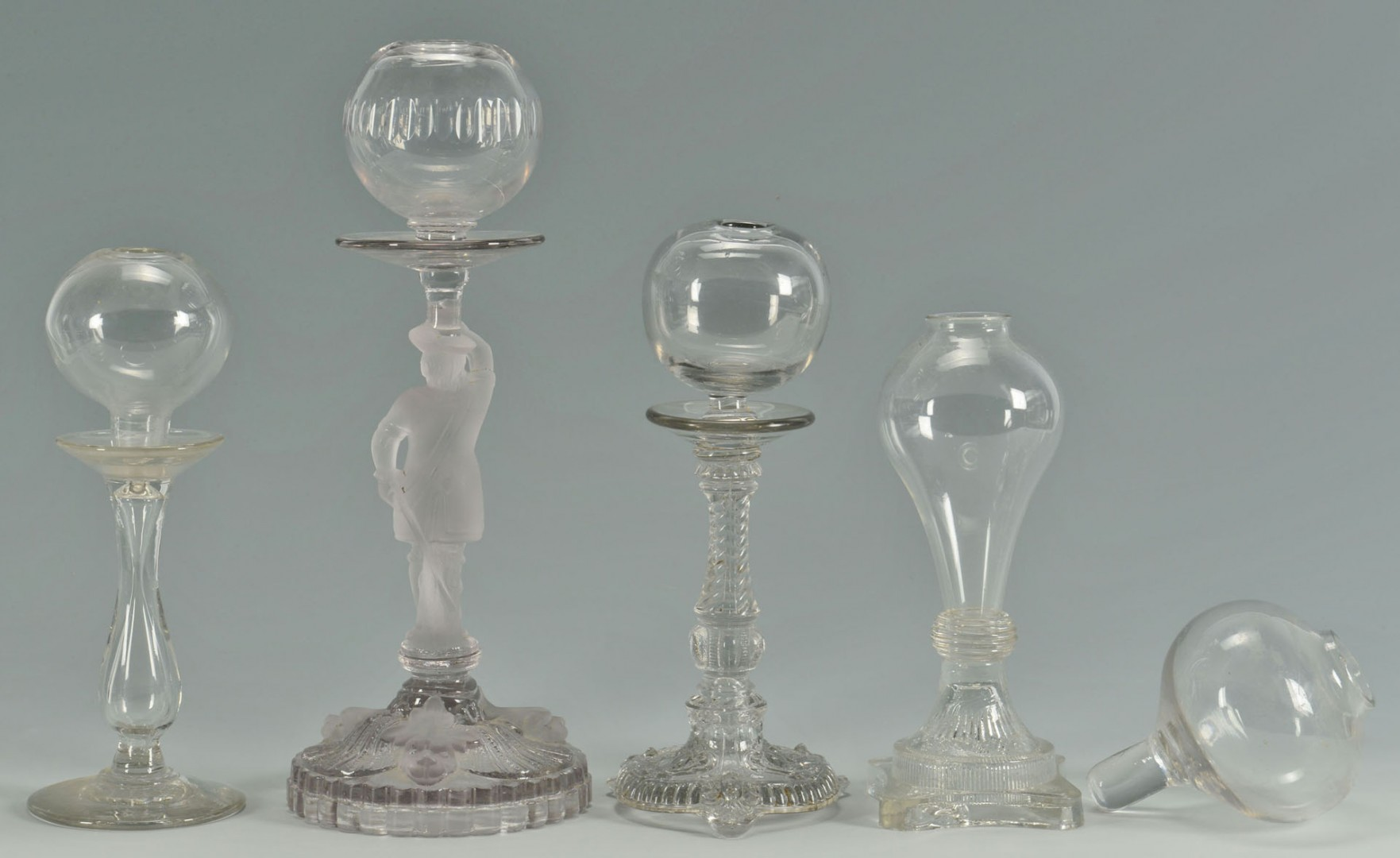 Blown & Pressed Glass Oil Lamps inc. Lacemaker