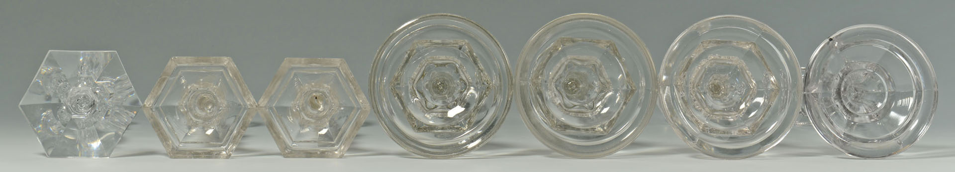 Lot 173: 10 Early Glass Candlesticks & Oil Peg Lamps