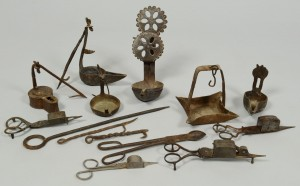 Lot 174: Grouping of Early Iron Lighting Related Items
