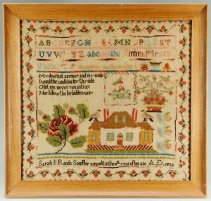Lot 179: American House sampler by Sarah Rands, poss. NY