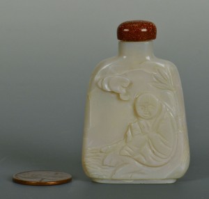 Lot 17: Chinese Qing Carved White Jade Snuff Bottle