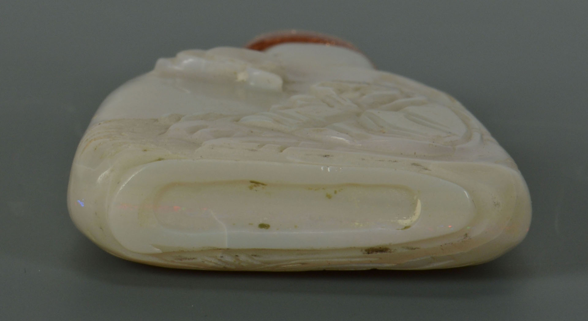 Chinese Qing Carved White Jade Snuff Bottle