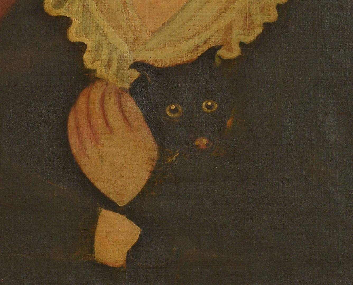Folk Art Portrait  of Child and Kitten