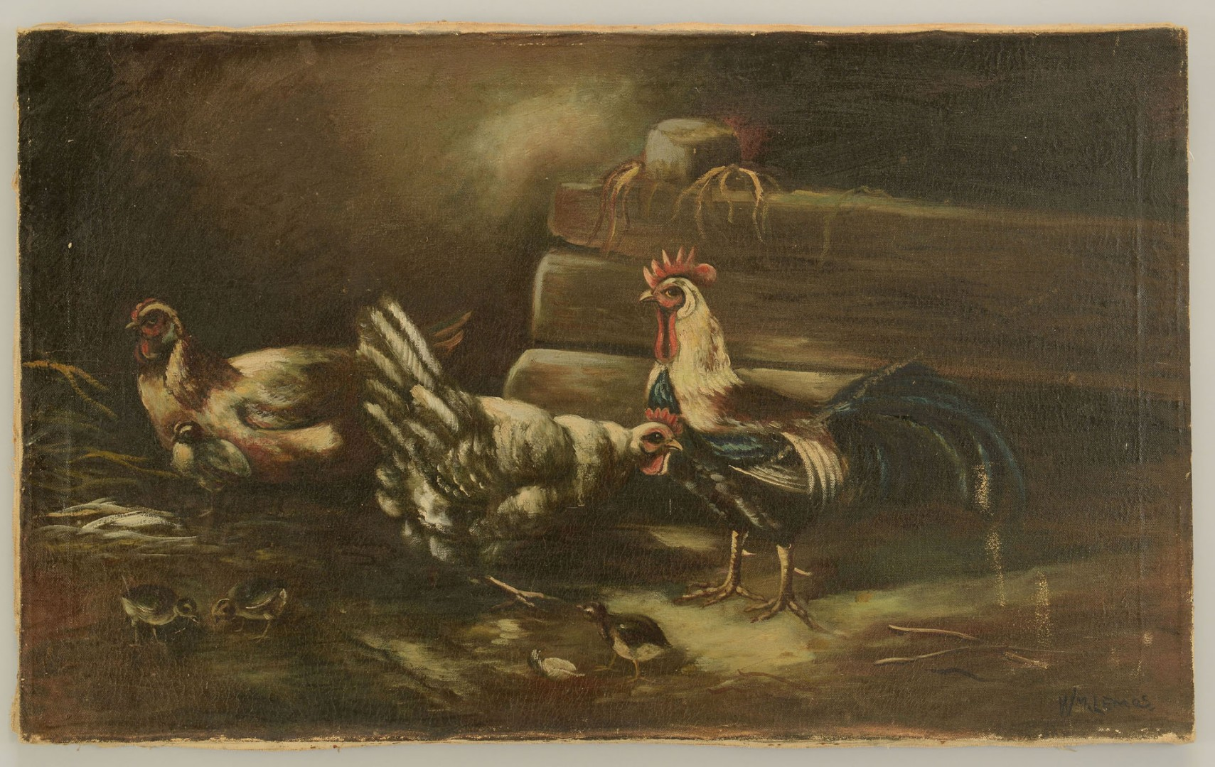 William M. Lemos oil on canvas of Roosters
