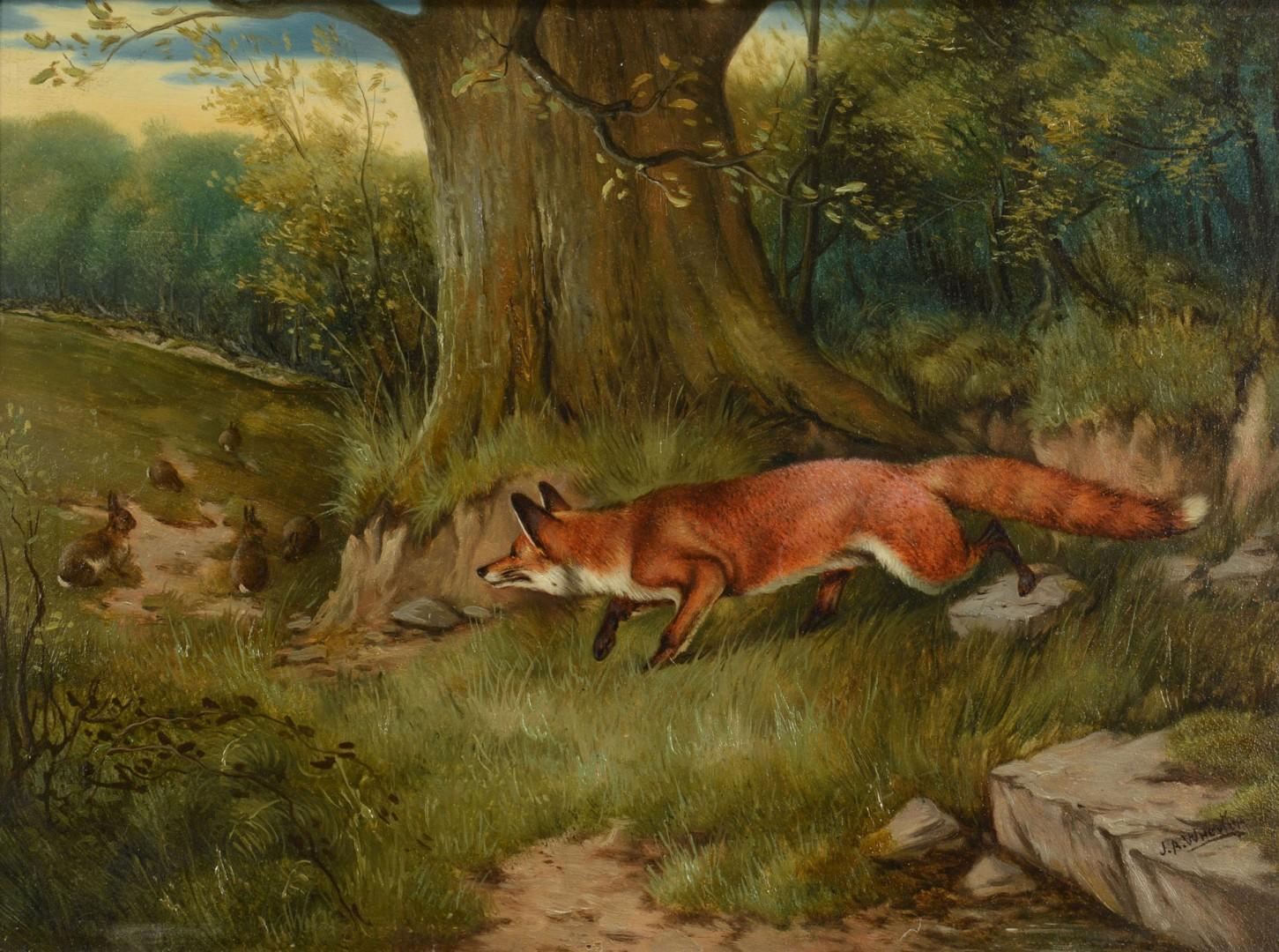 Lot 186: J.A. Wheeler, Fox Hunting Rabbits