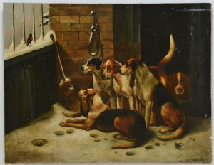 Lot 189: John Morris, British, O/C, Hunting Dogs in Kennel