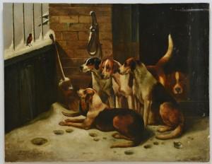 Lot 189: John Morris, British, O/C, Hunting Dogs in Kennel
