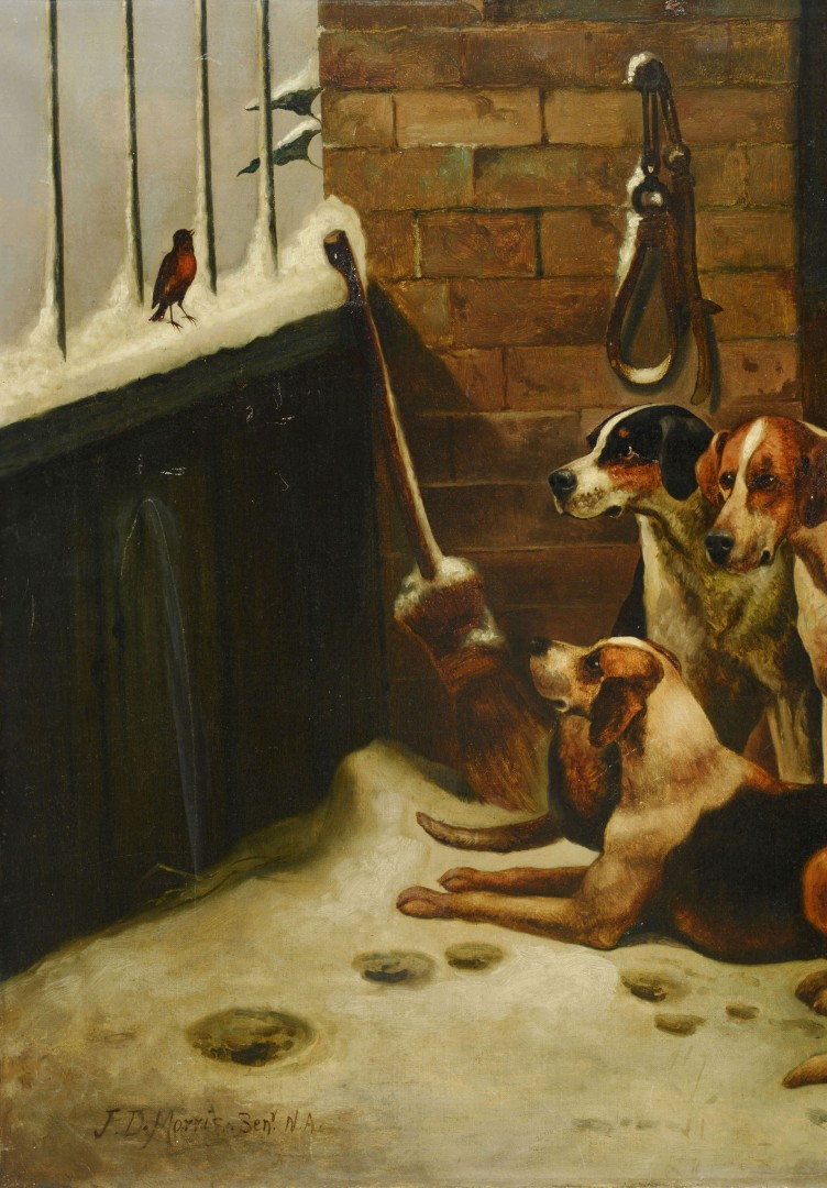 John Morris, British, O/C, Hunting Dogs in Kennel