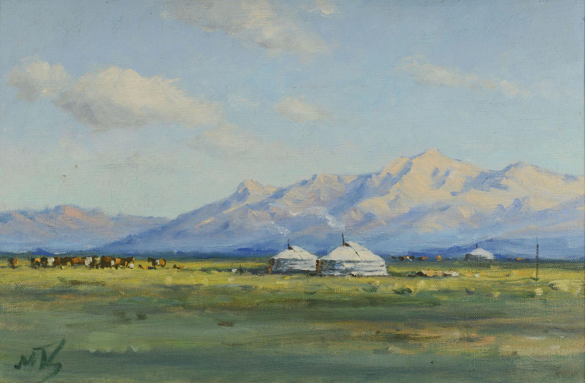 Lot 190 Southwestern Or Mongolian Landscape Painting