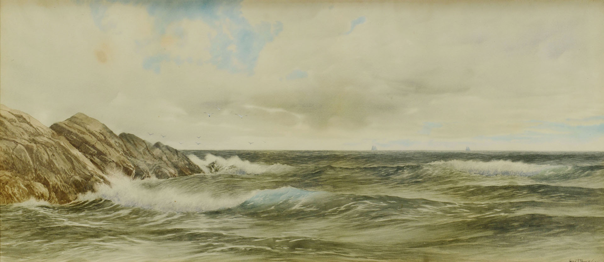 Lot 197: George Howell Gay watercolor seascape