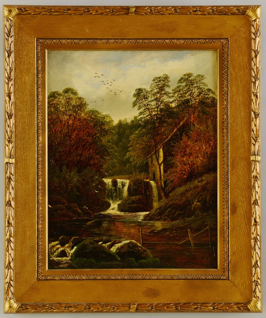 Lot 198: William Miller Oil On Canvas Landscape w/Mill