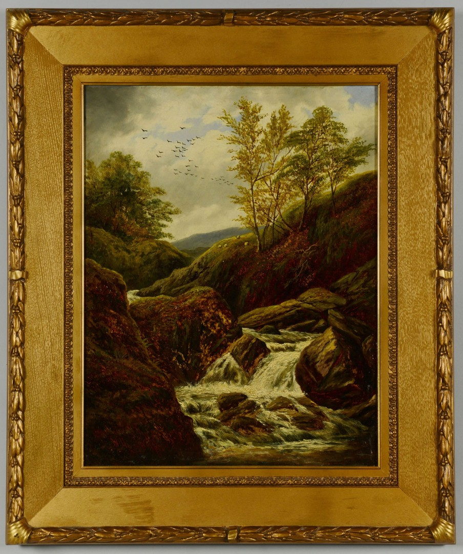 Lot 199: William Miller Oil On Canvas River Landscape w/she