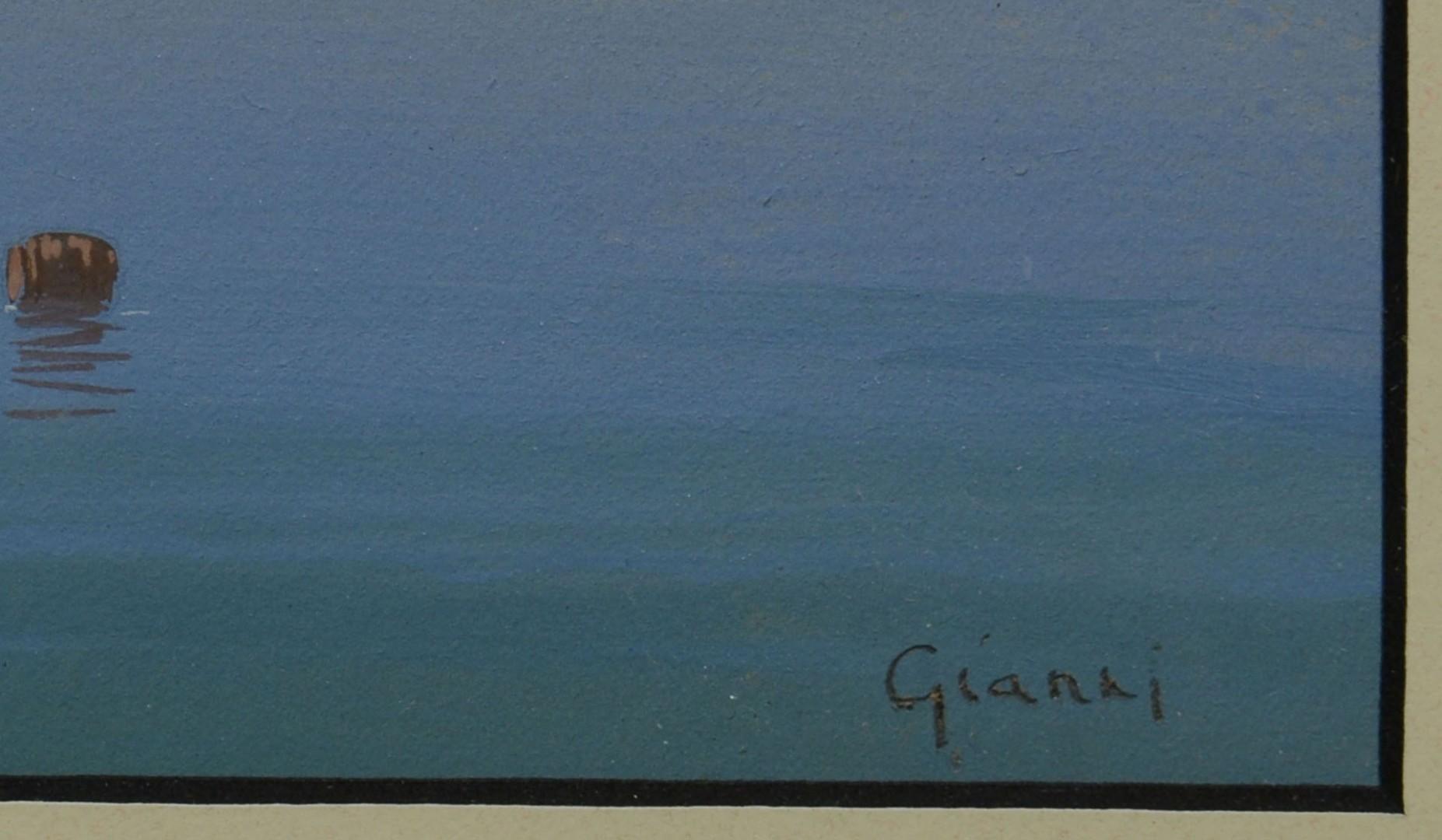Italian School Seascape Watercolor, signed Gianni