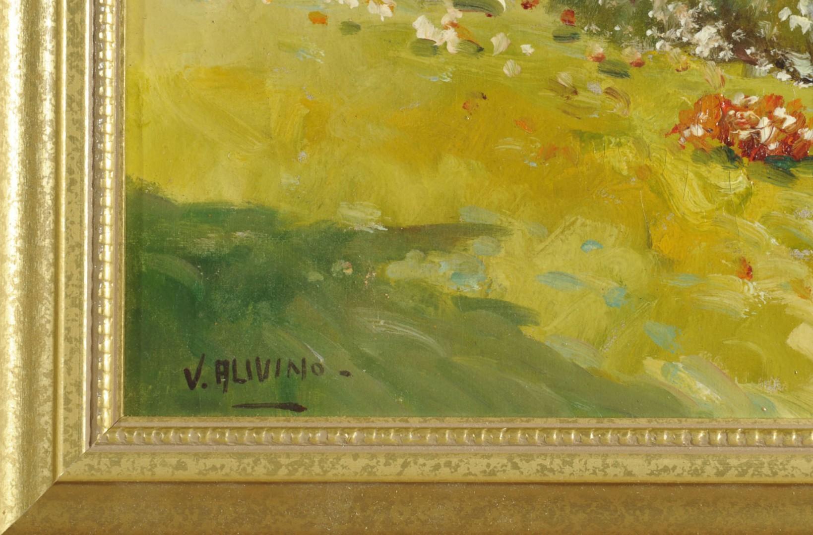 Italian School V. Alivino Oil on Board