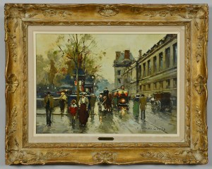 Lot 205: Edouard Cortes, Oil on Canvas Paris Street Scene