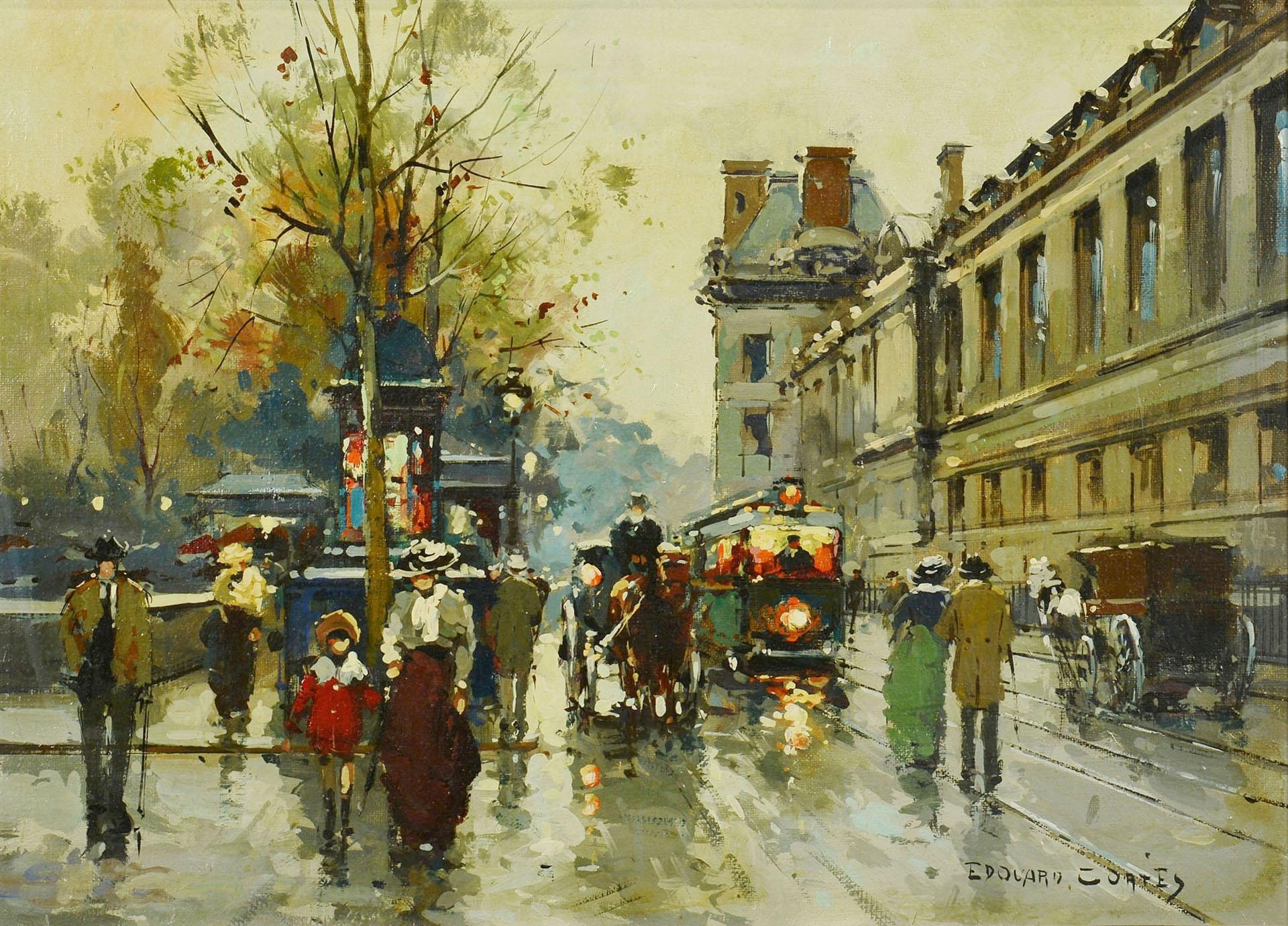 Edouard Cortes, Oil on Canvas Paris Street Scene