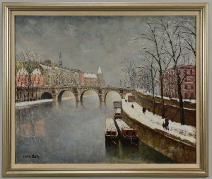 Lot 206: Louis Dali oil on canvas, Paris Winter Scene