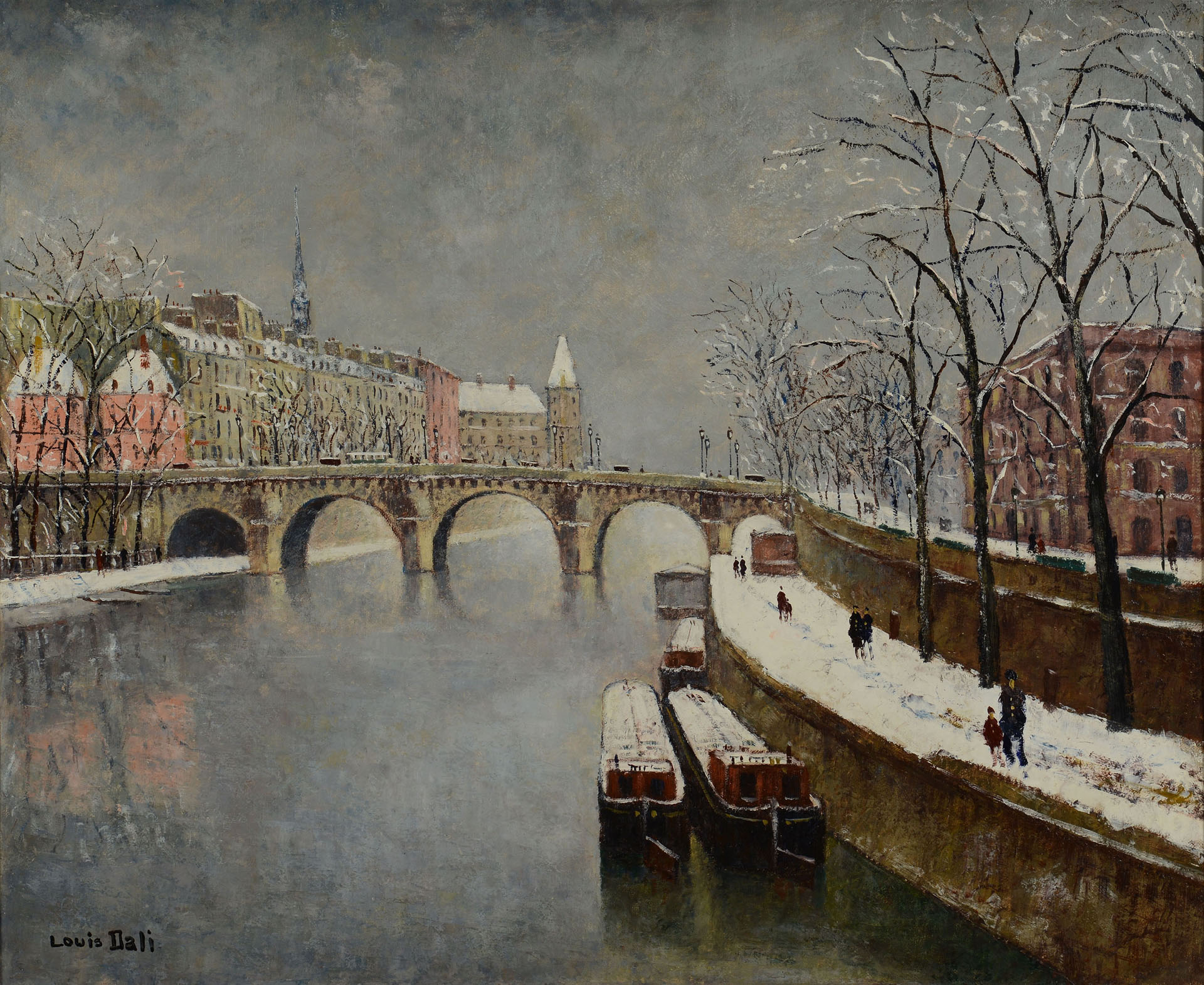 Lot 206 Louis Dali Oil On Canvas Paris Winter Scene